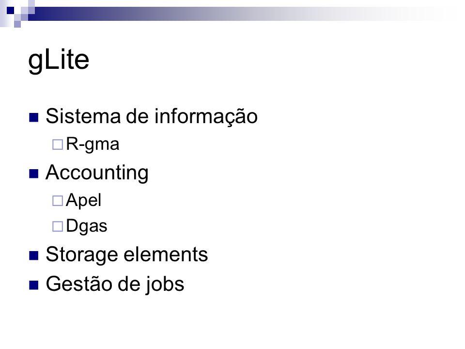 gLite Sistema de informação  R-gma Accounting  Apel  Dgas Storage elements Gestão de jobs