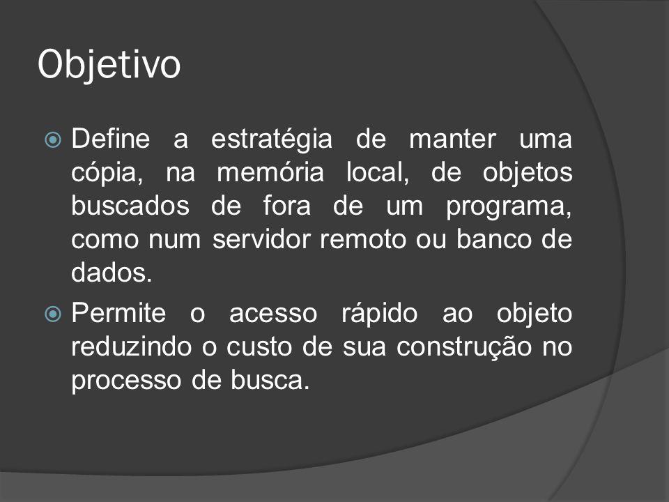 Objetivo  Define a estratégia de manter uma cópia, na memória local, de objetos buscados de fora de um programa, como num servidor remoto ou banco de