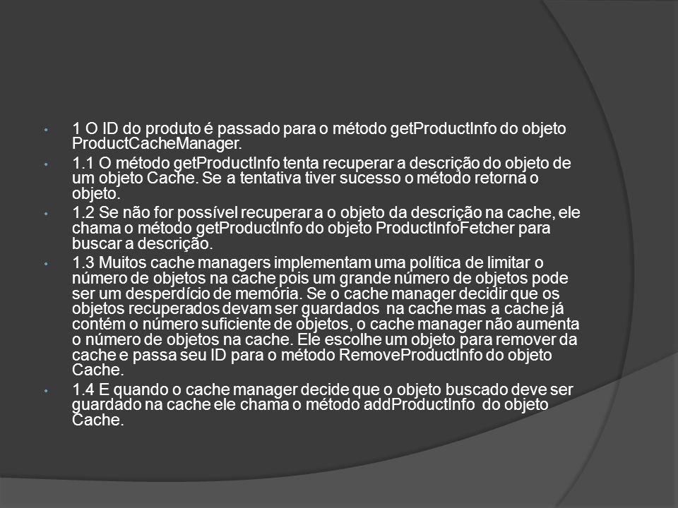 1 O ID do produto é passado para o método getProductInfo do objeto ProductCacheManager. 1.1 O método getProductInfo tenta recuperar a descrição do obj