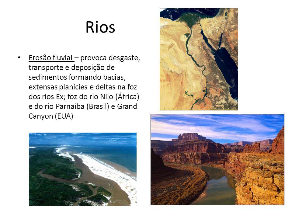 Rios Erosão fluvial – provoca desgaste, transporte e deposição de sedimentos formando bacias, extensas planícies e deltas na foz dos rios Ex; foz do r