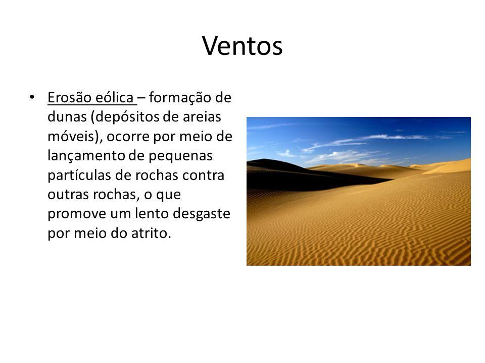 Ventos Erosão eólica – formação de dunas (depósitos de areias móveis), ocorre por meio de lançamento de pequenas partículas de rochas contra outras ro