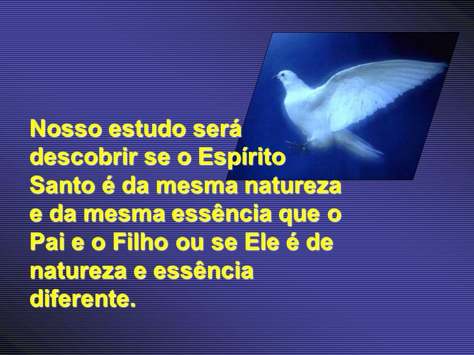 Nosso estudo será descobrir se o Espírito Santo é da mesma natureza e da mesma essência que o Pai e o Filho ou se Ele é de natureza e essência diferen