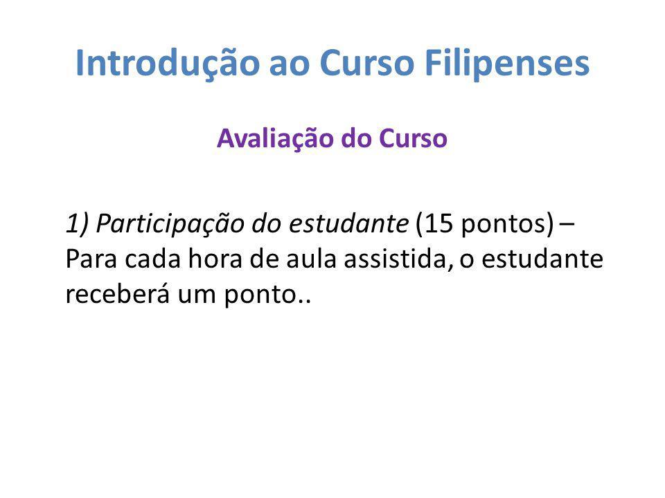 Introdução ao Curso Filipenses Avaliação do Curso 1) Participação do estudante (15 pontos) – Para cada hora de aula assistida, o estudante receberá um