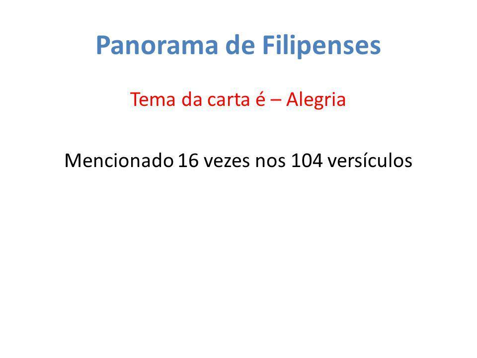 Panorama de Filipenses Tema da carta é – Alegria Mencionado 16 vezes nos 104 versículos