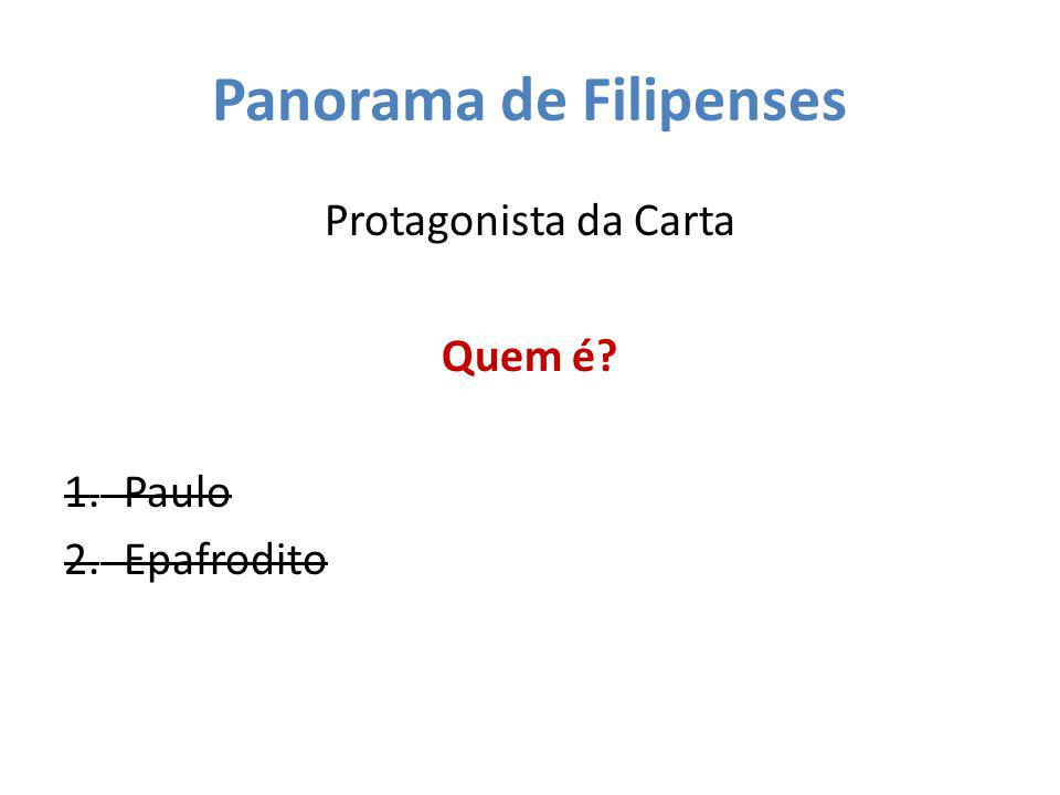 Panorama de Filipenses Protagonista da Carta Quem é? 1.Paulo 2.Epafrodito