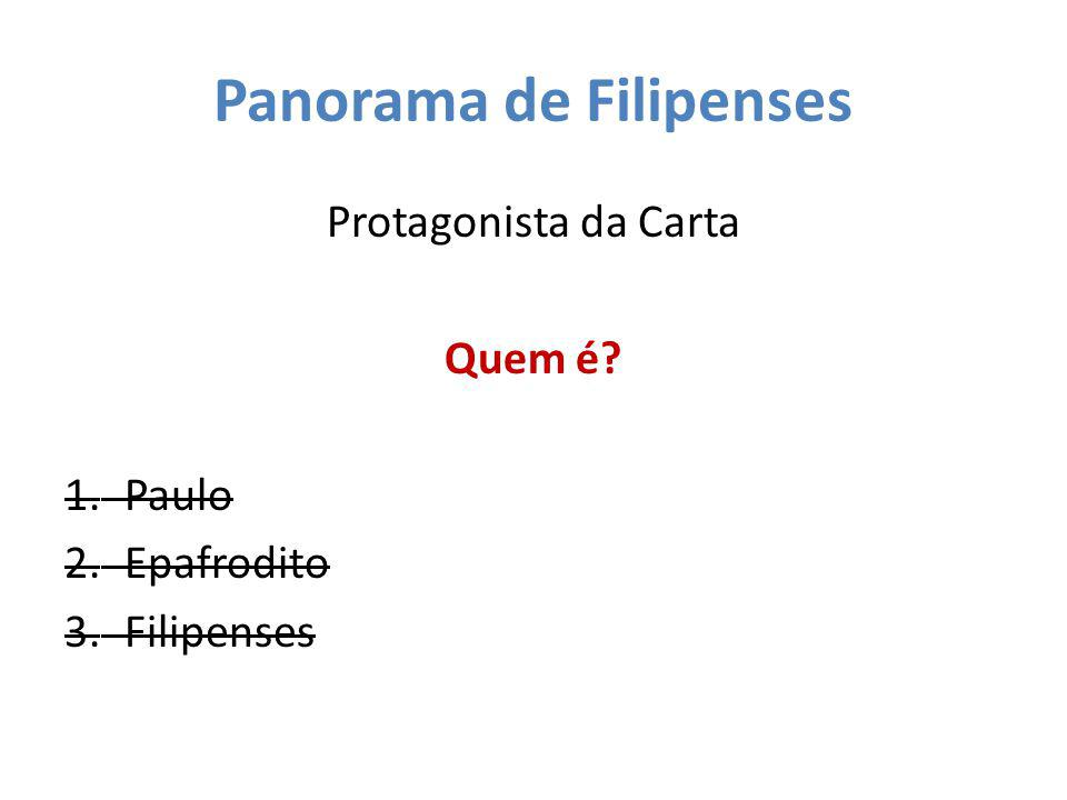 Panorama de Filipenses Protagonista da Carta Quem é? 1.Paulo 2.Epafrodito 3.Filipenses