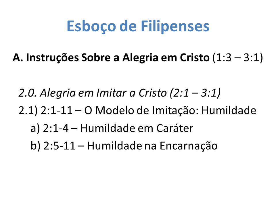 Esboço de Filipenses A. Instruções Sobre a Alegria em Cristo (1:3 – 3:1) 2.0. Alegria em Imitar a Cristo (2:1 – 3:1) 2.1) 2:1-11 – O Modelo de Imitaçã
