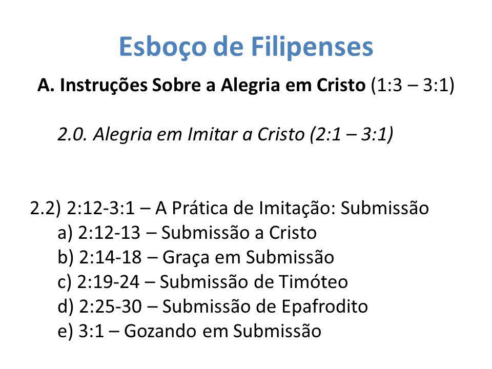 Esboço de Filipenses A. Instruções Sobre a Alegria em Cristo (1:3 – 3:1) 2.0. Alegria em Imitar a Cristo (2:1 – 3:1) 2.2) 2:12-3:1 – A Prática de Imit