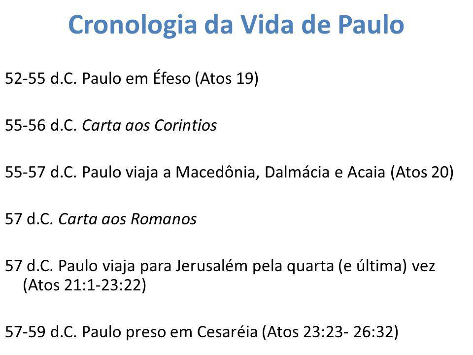 Cronologia da Vida de Paulo 52-55 d.C. Paulo em Éfeso (Atos 19) 55-56 d.C. Carta aos Corintios 55-57 d.C. Paulo viaja a Macedônia, Dalmácia e Acaia (A