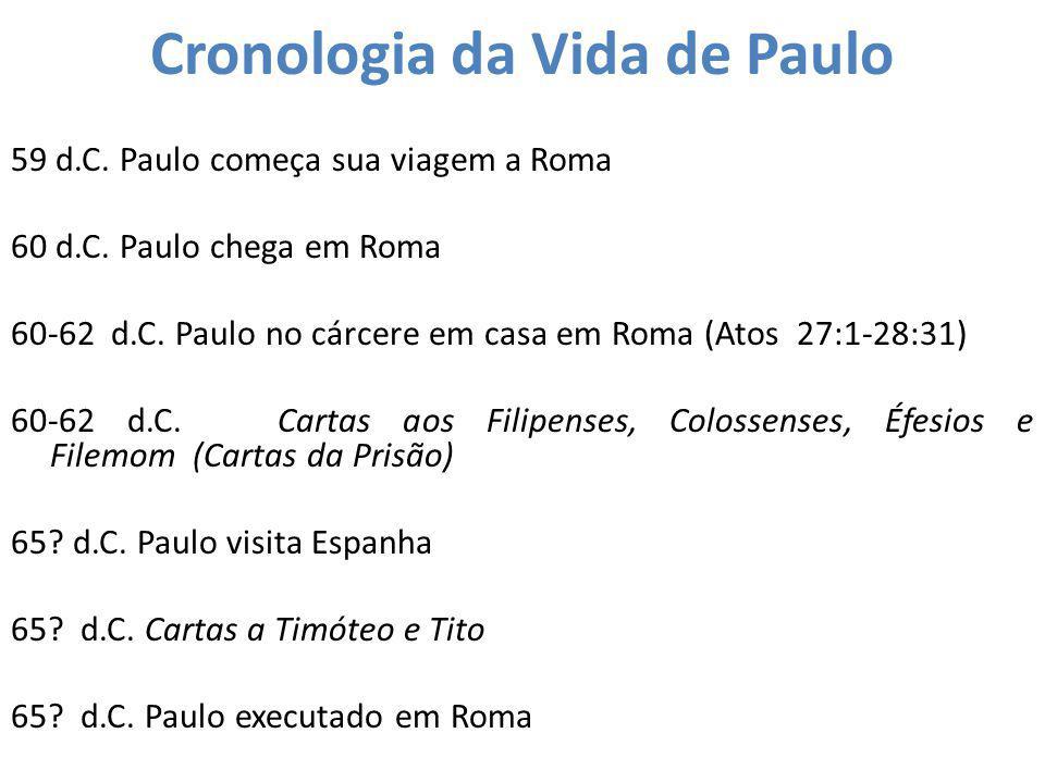 Cronologia da Vida de Paulo 59 d.C. Paulo começa sua viagem a Roma 60 d.C. Paulo chega em Roma 60-62 d.C. Paulo no cárcere em casa em Roma (Atos 27:1-