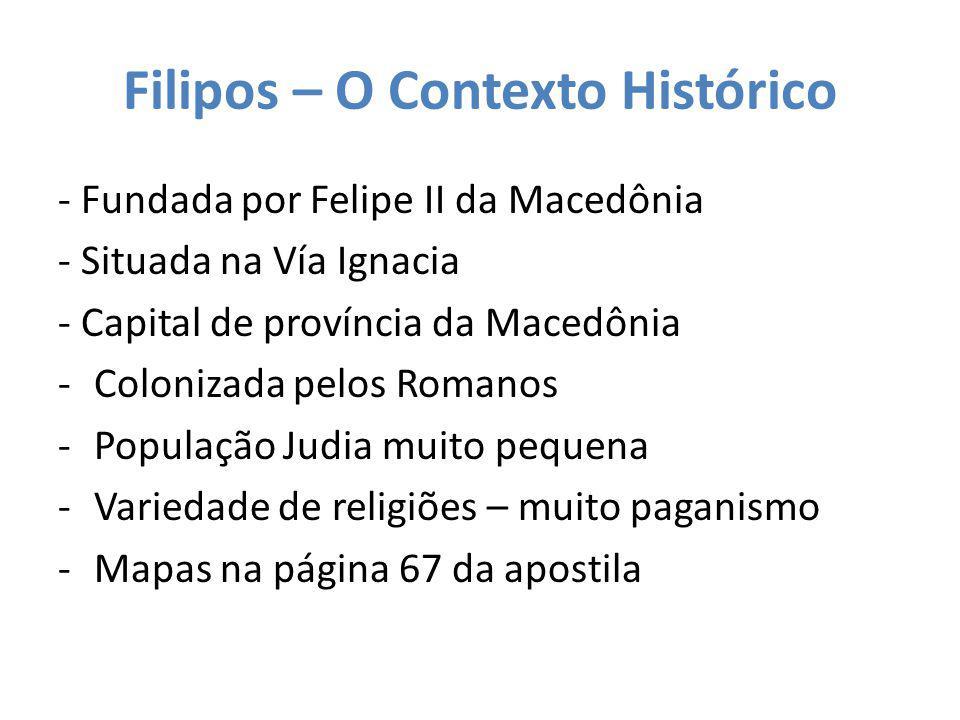 Filipos – O Contexto Histórico - Fundada por Felipe II da Macedônia - Situada na Vía Ignacia - Capital de província da Macedônia -Colonizada pelos Rom