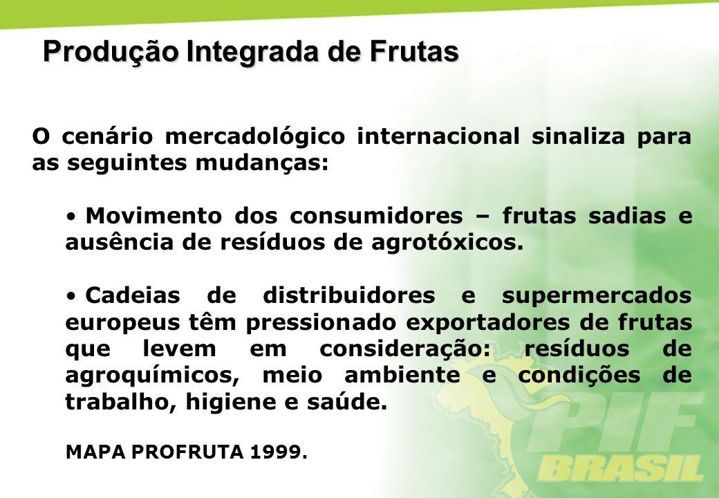 Resultados parciais da PIF em 2005 Espécies Frutíferas – 17 Estados da Federação – 14 RS/SC/PR/SP/MG/ES/TO/BA/CE/RN/PI/SE/PE/PB Normas Técnicas Específicas publicadas no DOU – 14 Projetos de fruticultura em andamento – 24 Instituições públicas e privadas envolvidas – 500 Produtores participantes da PIF – mais de 1.219 Área total – 40.446 ha Produção total de frutas – 1.140.336 ton