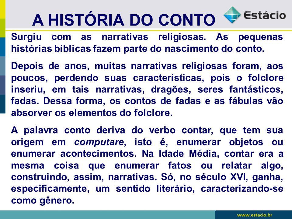 A HISTÓRIA DO CONTO Surgiu com as narrativas religiosas. As pequenas histórias bíblicas fazem parte do nascimento do conto. Depois de anos, muitas nar