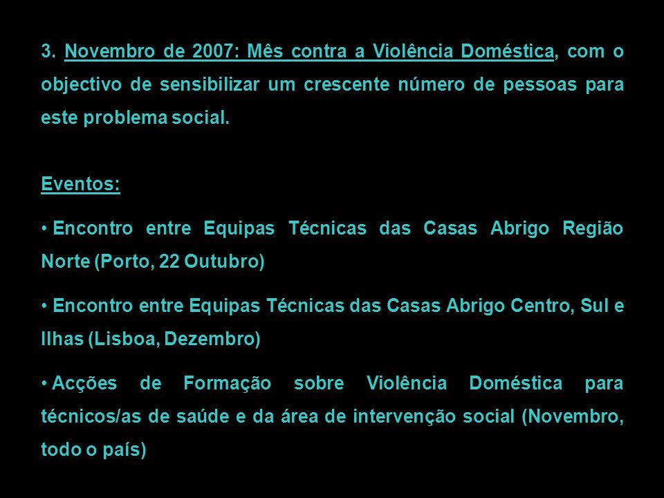 3. Novembro de 2007: Mês contra a Violência Doméstica, com o objectivo de sensibilizar um crescente número de pessoas para este problema social. Event