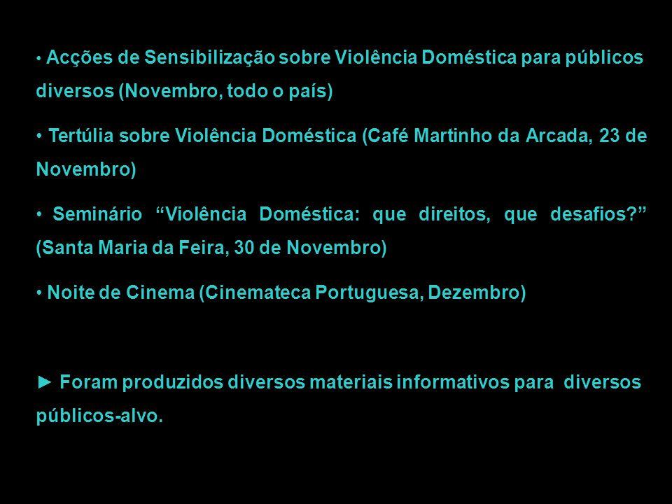 Acções de Sensibilização sobre Violência Doméstica para públicos diversos (Novembro, todo o país) Tertúlia sobre Violência Doméstica (Café Martinho da