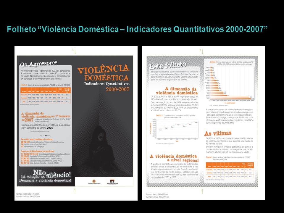"""Folheto """"Violência Doméstica – Indicadores Quantitativos 2000-2007"""""""