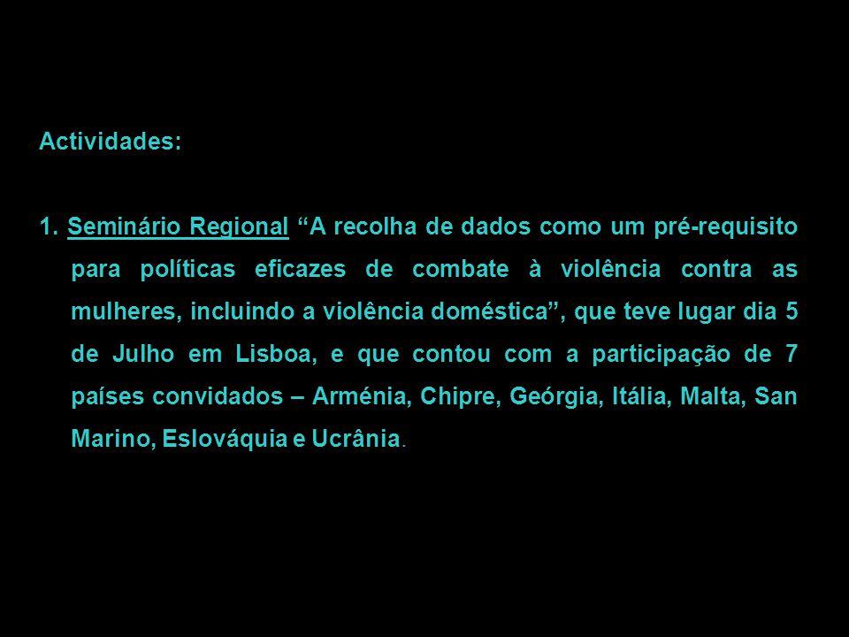 """Actividades: 1. Seminário Regional """"A recolha de dados como um pré-requisito para políticas eficazes de combate à violência contra as mulheres, inclui"""