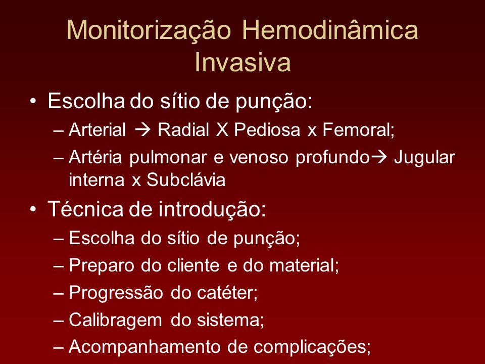 Escolha do sítio de punção: –Arterial  Radial X Pediosa x Femoral; –Artéria pulmonar e venoso profundo  Jugular interna x Subclávia Técnica de intro