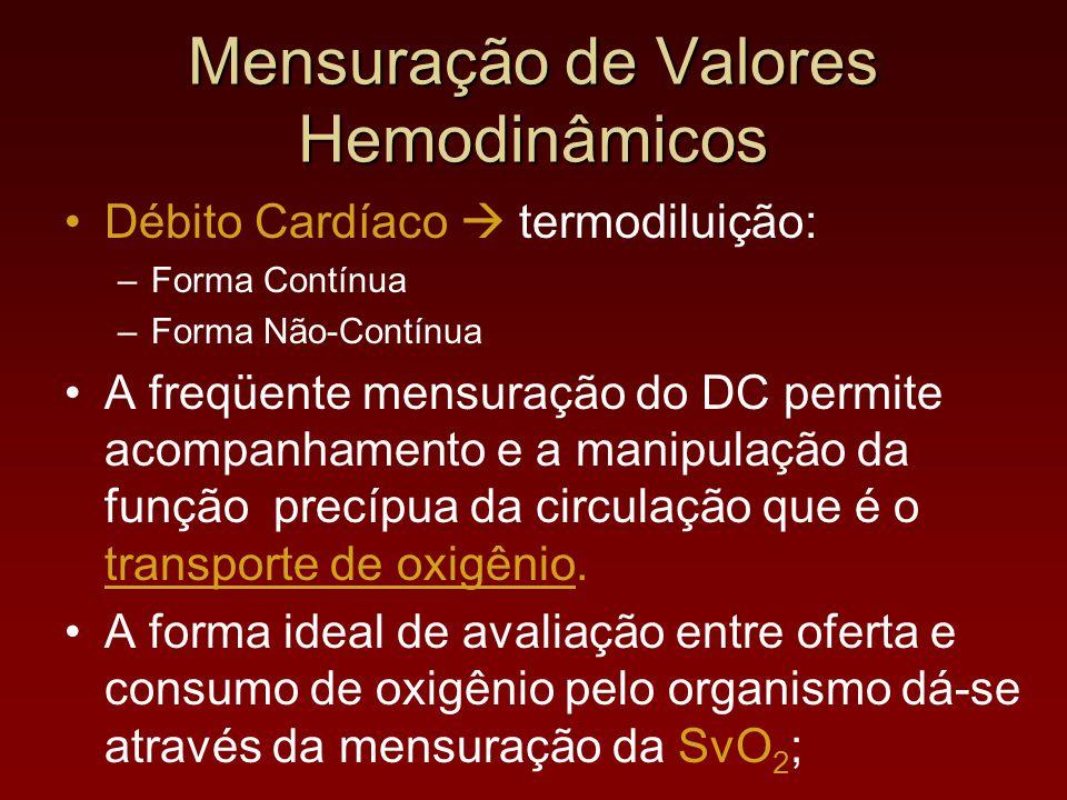 Débito Cardíaco  termodiluição: –Forma Contínua –Forma Não-Contínua A freqüente mensuração do DC permite acompanhamento e a manipulação da função pre