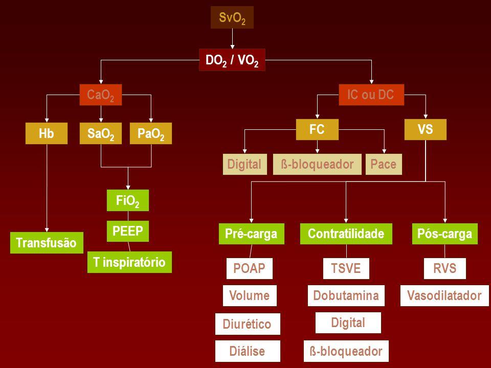 SvO 2 IC ou DCCaO 2 DO 2 / VO 2 HbSaO 2 PaO 2 FiO 2 FC PEEP T inspiratório Transfusão VS ß-bloqueador Pós-cargaPré-cargaContratilidade POAP Volume TSV