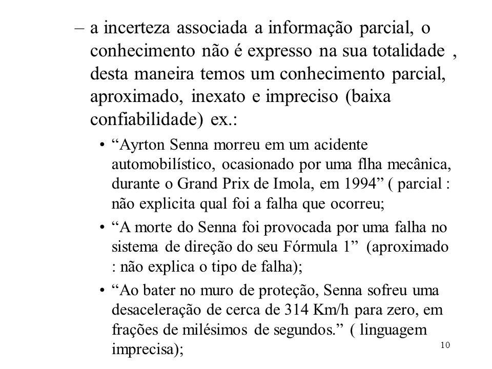 10 –a incerteza associada a informação parcial, o conhecimento não é expresso na sua totalidade, desta maneira temos um conhecimento parcial, aproxima