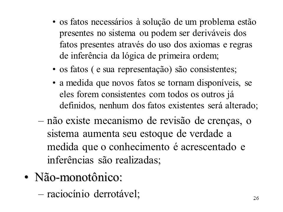 26 os fatos necessários à solução de um problema estão presentes no sistema ou podem ser deriváveis dos fatos presentes através do uso dos axiomas e r