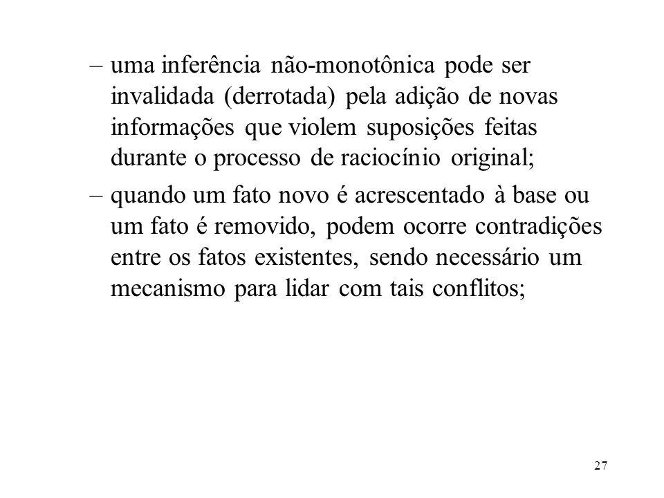 27 –uma inferência não-monotônica pode ser invalidada (derrotada) pela adição de novas informações que violem suposições feitas durante o processo de
