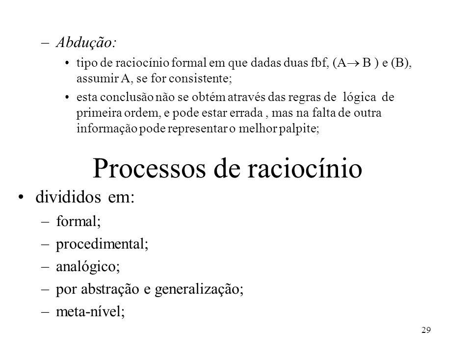 29 –Abdução: tipo de raciocínio formal em que dadas duas fbf, (A  B ) e (B), assumir A, se for consistente; esta conclusão não se obtém através das r