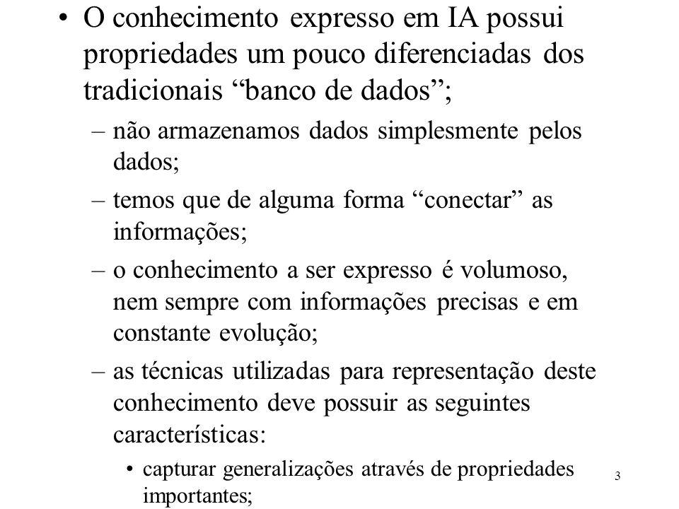 """3 O conhecimento expresso em IA possui propriedades um pouco diferenciadas dos tradicionais """"banco de dados""""; –não armazenamos dados simplesmente pelo"""