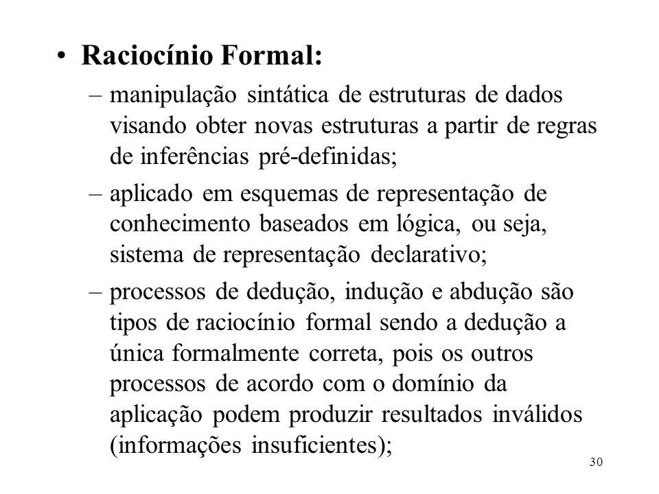 30 Raciocínio Formal: –manipulação sintática de estruturas de dados visando obter novas estruturas a partir de regras de inferências pré-definidas; –a