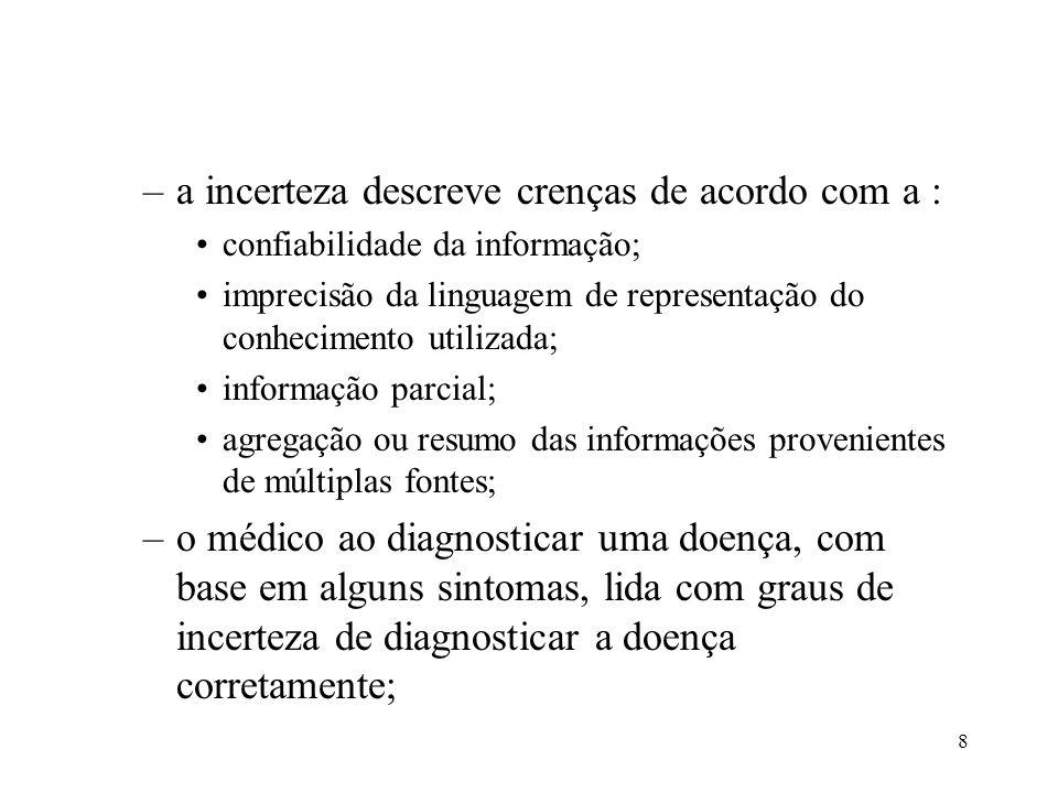 8 –a incerteza descreve crenças de acordo com a : confiabilidade da informação; imprecisão da linguagem de representação do conhecimento utilizada; in