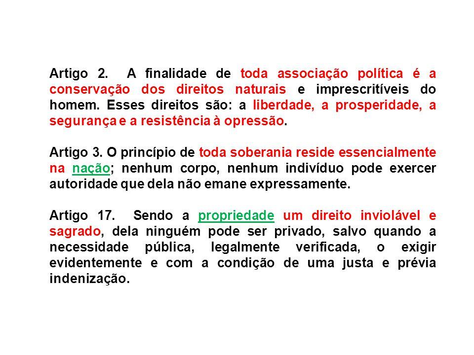 Artigo 2. A finalidade de toda associação política é a conservação dos direitos naturais e imprescritíveis do homem. Esses direitos são: a liberdade,