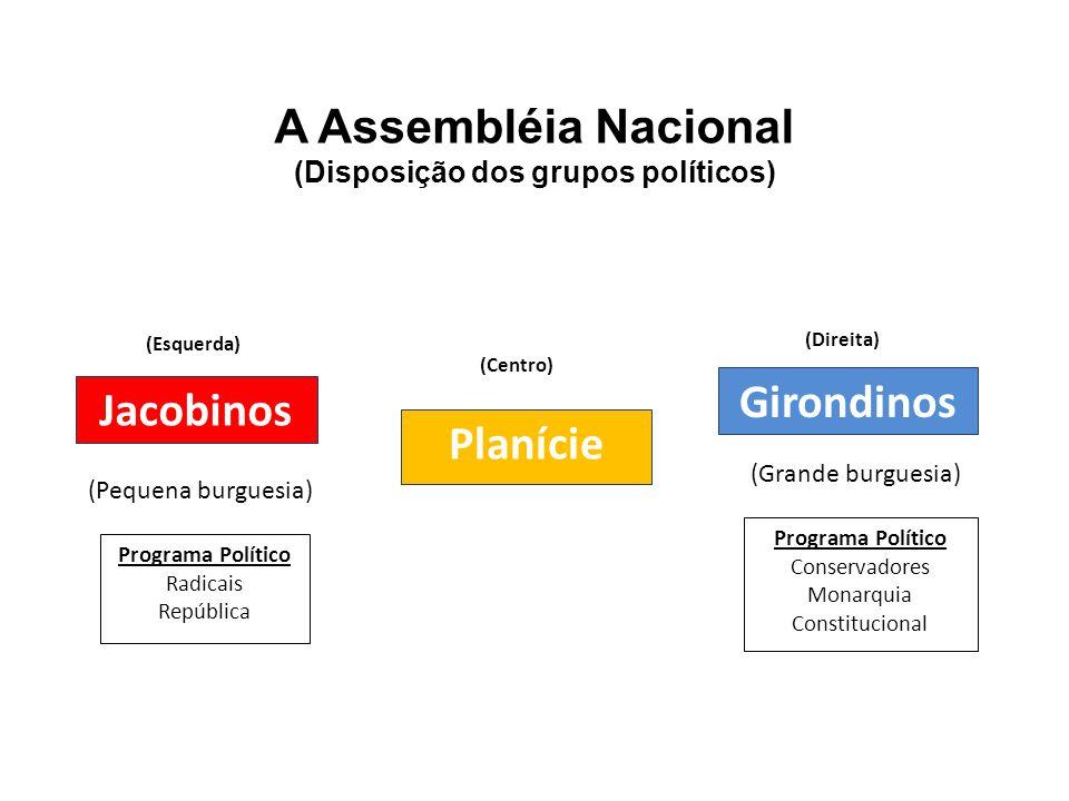 A Assembléia Nacional (Disposição dos grupos políticos) (Esquerda) Jacobinos (Centro) Planície (Direita) Girondinos Programa Político Radicais Repúbli