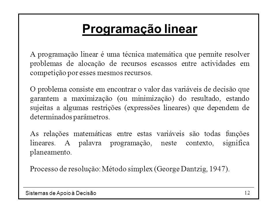 Sistemas de Apoio à Decisão 12 Programação linear A programação linear é uma técnica matemática que permite resolver problemas de alocação de recursos