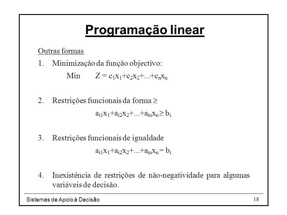 Sistemas de Apoio à Decisão 18 Programação linear Outras formas 1.Minimização da função objectivo: Min Z = c 1 x 1 +c 2 x 2 +...+c n x n 2.Restrições