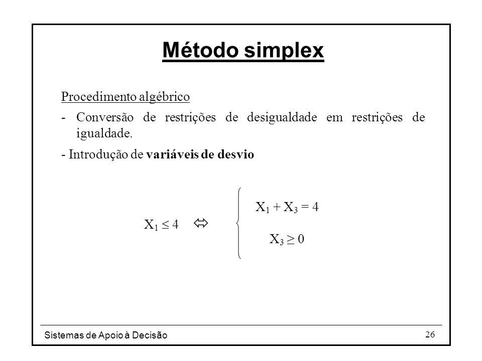 Sistemas de Apoio à Decisão 26 Método simplex Procedimento algébrico -Conversão de restrições de desigualdade em restrições de igualdade. - Introdução
