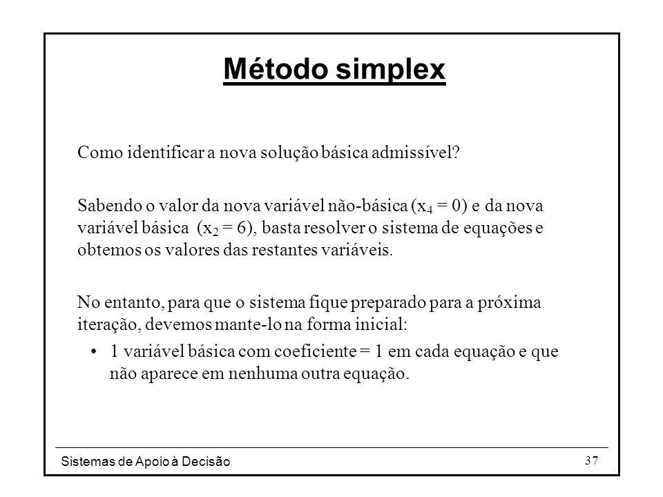 Sistemas de Apoio à Decisão 37 Como identificar a nova solução básica admissível? Sabendo o valor da nova variável não-básica (x 4 = 0) e da nova vari