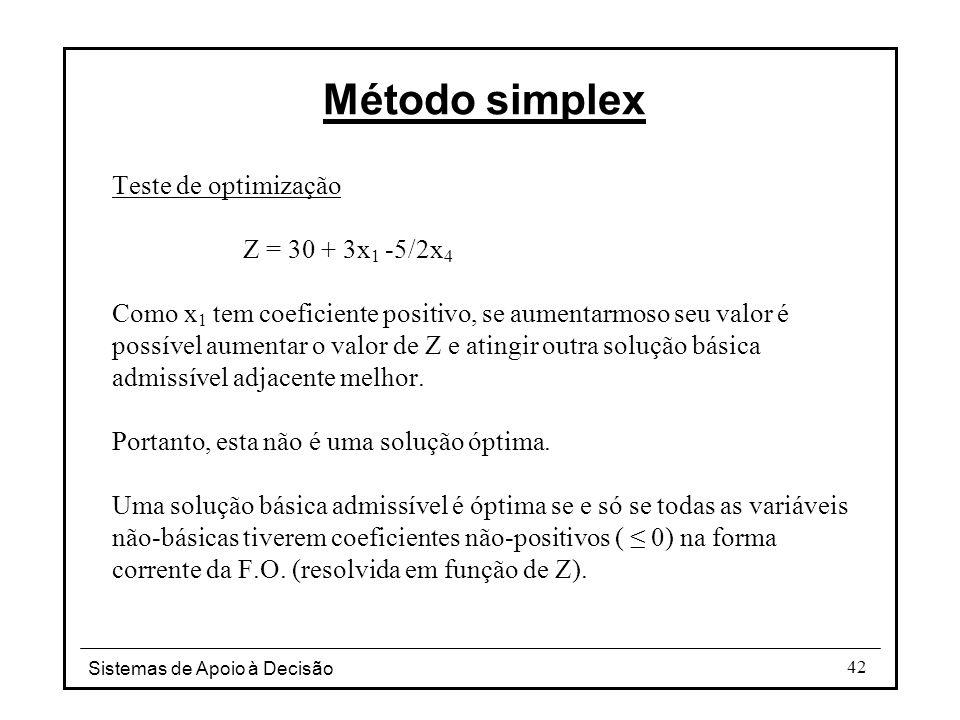Sistemas de Apoio à Decisão 42 Teste de optimização Z = 30 + 3x 1 -5/2x 4 Como x 1 tem coeficiente positivo, se aumentarmoso seu valor é possível aume