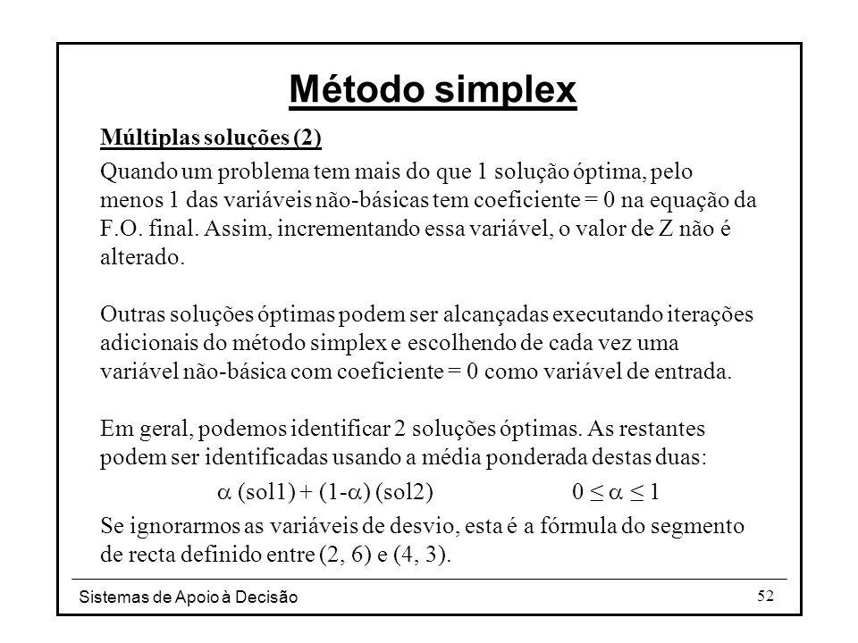 Sistemas de Apoio à Decisão 52 Múltiplas soluções (2) Quando um problema tem mais do que 1 solução óptima, pelo menos 1 das variáveis não-básicas tem