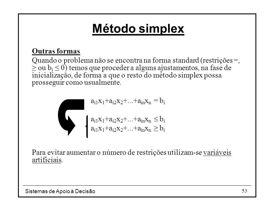 Sistemas de Apoio à Decisão 53 Outras formas Quando o problema não se encontra na forma standard (restrições =, ≥ ou b i ≤ 0) temos que proceder a alg