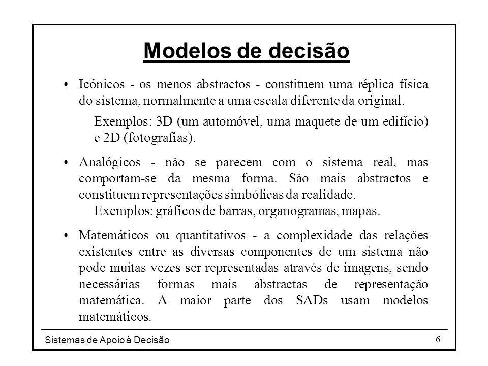 Sistemas de Apoio à Decisão 7 Vantagens do uso de modelos Permitem a compressão do tempo - actividades que em tempo real demorariam anos podem ser simuladas em alguns minutos.