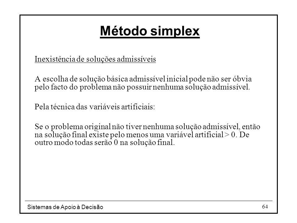 Sistemas de Apoio à Decisão 64 Inexistência de soluções admissíveis A escolha de solução básica admissível inicial pode não ser óbvia pelo facto do pr