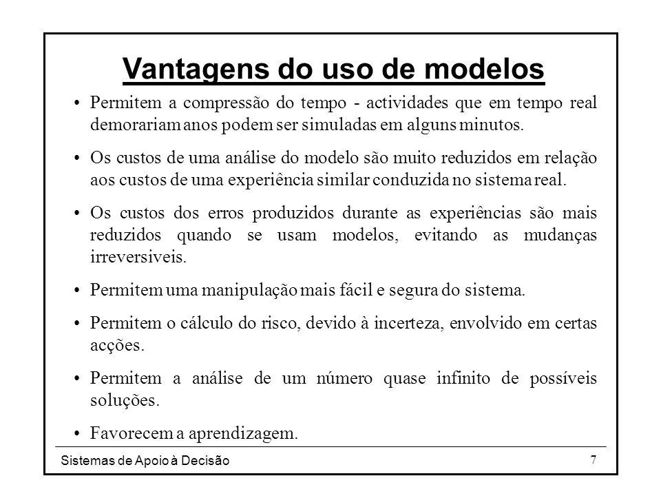 Sistemas de Apoio à Decisão 8 Modelos quantitativos Componentes básicas: Variáveis de decisão, Parâmetros, Resultados ou variáveis de saída.