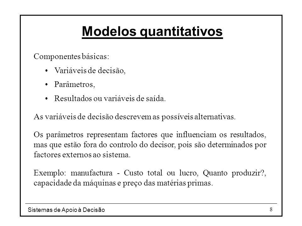 Sistemas de Apoio à Decisão 8 Modelos quantitativos Componentes básicas: Variáveis de decisão, Parâmetros, Resultados ou variáveis de saída. As variáv
