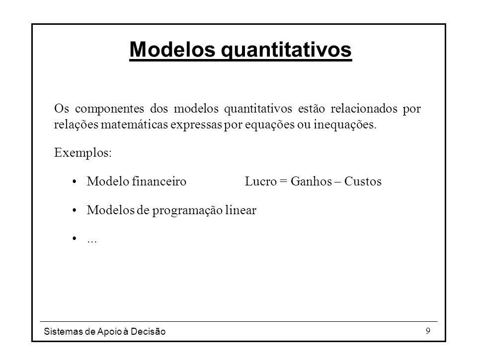 Sistemas de Apoio à Decisão 10 Modelos quantitativos Componentes básicas dos modelos de investigação operacional: Variáveis de decisão – cujos valores, que descrevem as possíveis alternativas, se pretende determinar.