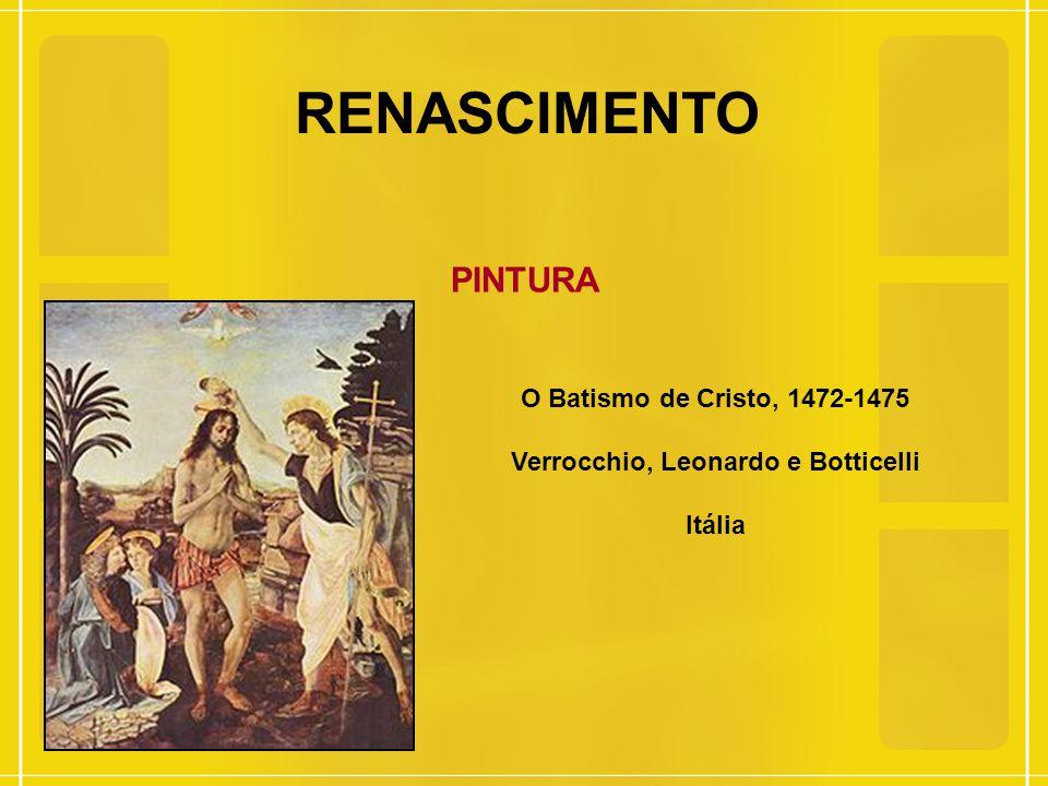 RENASCIMENTO PINTURA O Batismo de Cristo, 1472-1475 Verrocchio, Leonardo e Botticelli Itália