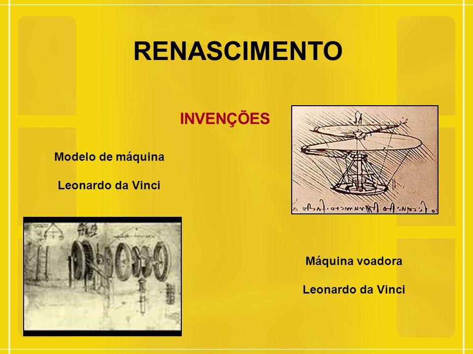 RENASCIMENTO INVENÇÕES Modelo de máquina Leonardo da Vinci Máquina voadora Leonardo da Vinci