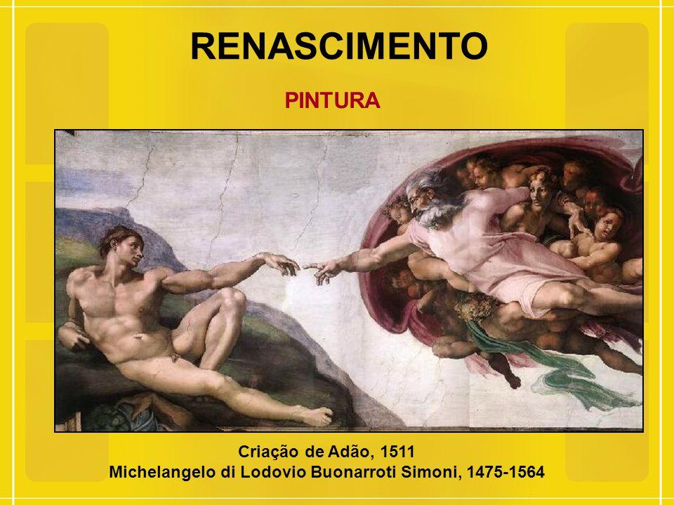 RENASCIMENTO PINTURA Criação de Adão, 1511 Michelangelo di Lodovio Buonarroti Simoni, 1475-1564