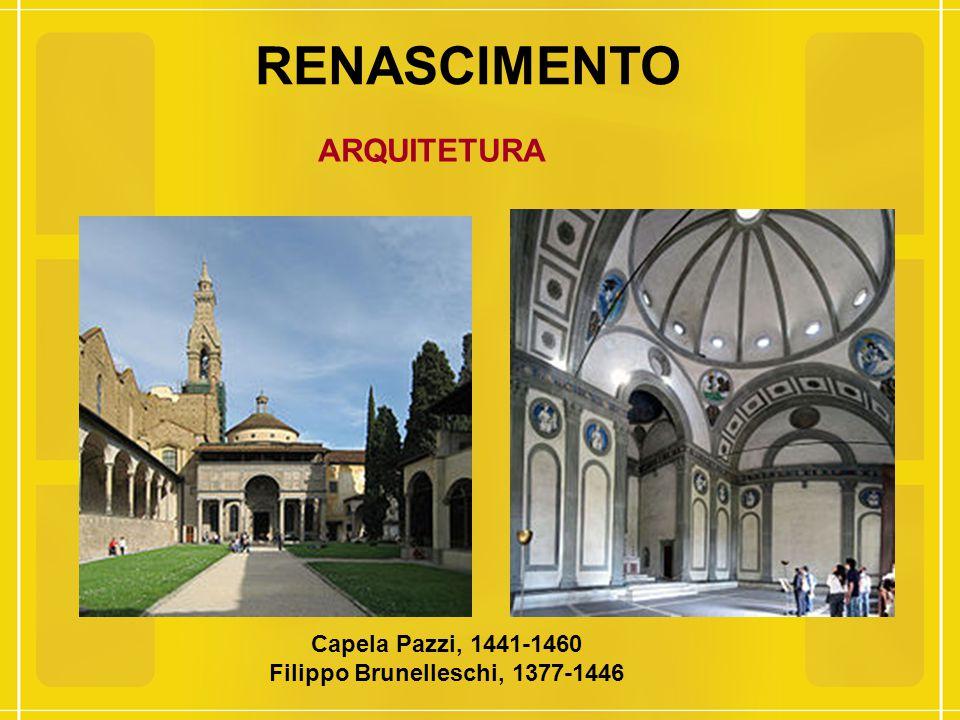 RENASCIMENTO ARQUITETURA Capela Pazzi, 1441-1460 Filippo Brunelleschi, 1377-1446