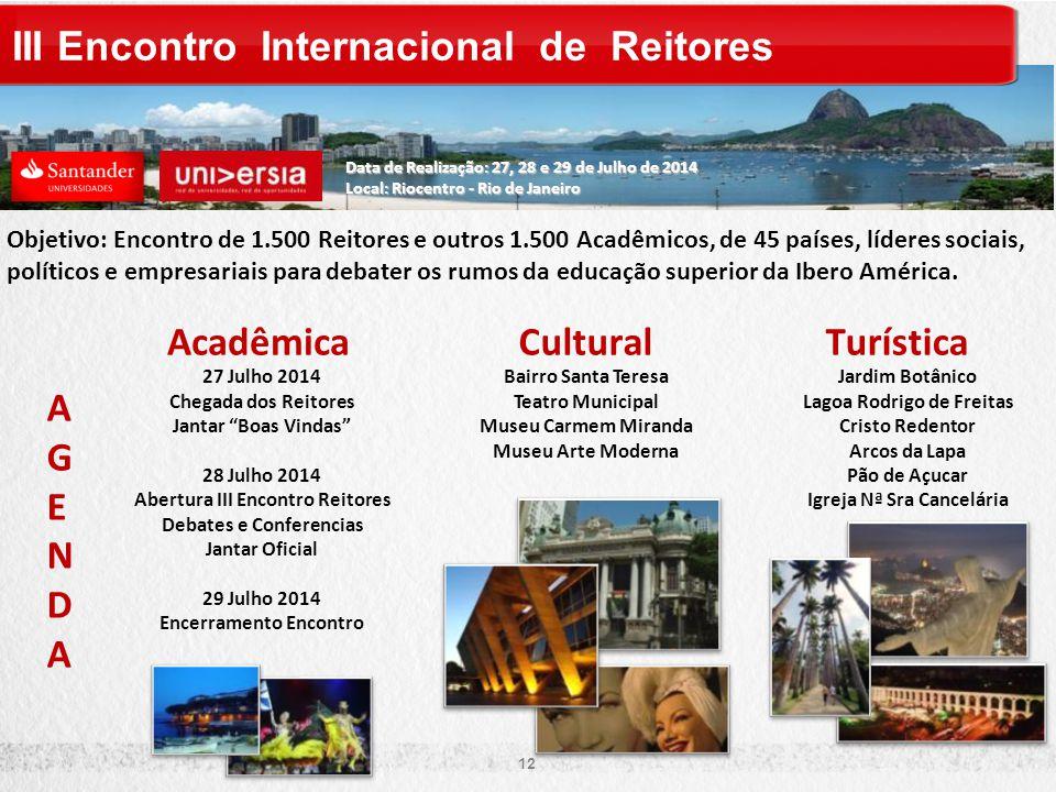 Objetivo: Encontro de 1.500 Reitores e outros 1.500 Acadêmicos, de 45 países, líderes sociais, políticos e empresariais para debater os rumos da educação superior da Ibero América.